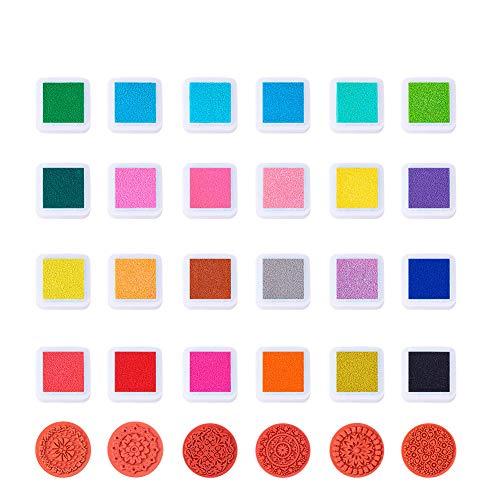 BENECREAT 24 colores sellos de tampon de tinta con 6 piezas de sellos de caucho de madera de encaje, creativo bricolaje color del arco iris dedo sellos de goma soluble en agua artesanias almohadillas de tinta establecidos tarjeta de impresion de Scrapbooking para ninos