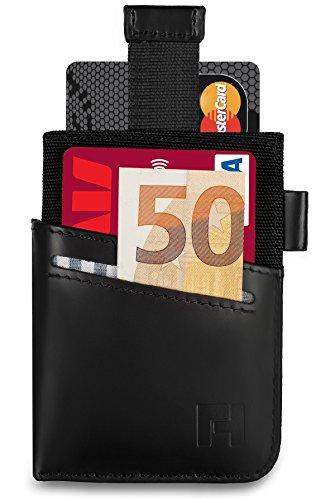 Reise-geld-clip (HILFORD Kreditkartenetui aus echtem Leder mit RFID & NFC Schutz - Kompaktes Portemonnaie mit Geldklammer - Kartenetui für bis zu 7 Karten - Mini Geldbeutel / Portmonee / Slim Wallet)