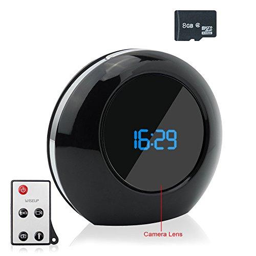 WISEUP 8GB Microcamere Spia Allarme Dell'Orologio Attivata