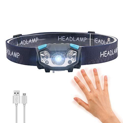 LED Stirnlampe Wiederaufladbarer USB Scheinwerfer mit rotem Licht und Induktionsmodus, LUXNOVAQ 5 Modi Leichter Scheinwerfer Wasserdichte kleine Stirnlampe zum Laufen Lesen Camping Wandern