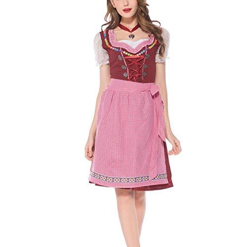 YCLOTH Dirndlkleid für Damen, Damen Trachtenkleid Kostümschürze Kleider für Halloween Karneval - Karostoff-1-M Amerika Software