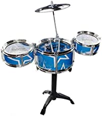 Shop & Shoppee Mini Jazz Drum Set with 3 Tom Tom Drums (Red, Blue)