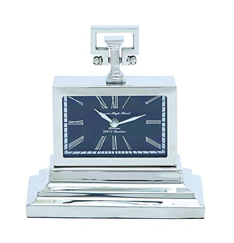 Nickel Plated Table Clock with Three Tiered Base - Tiered Base
