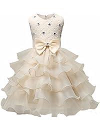 Minetom Niñas Sin Mangas O-Cuello Boda Princesa Con Arco Vestidos Infantil Elegantes Falda Tutú Fiesta Carnaval Cumpleaños