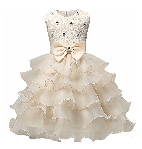 hen Kinder Rundhals Ärmellose Nagel-Bead Bowknot Kleid Blumenmädchenkleider Hochzeit Festlich Party Kleider Gelb 90 (Gelb Und Lila Hochzeit)