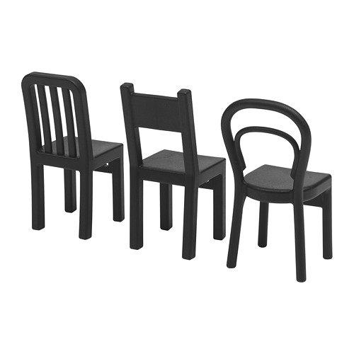"IKEA 3-er Set Haken \""Fjantig\"" Türgarderobe Aufhänger in Stuhlform - Tiefe: 6 cm Höhe: 12 cm - SCHWARZ"