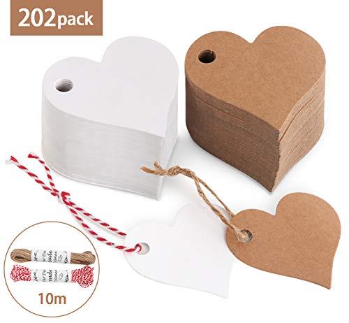200stk. Herz Kraftpapier Anhänger Etiketten Stern Geschenkanhänger und Jute Schnur 20M für Hochzeit Geschenke zum Basteln (Herz Kraftpapier Anhänger) -