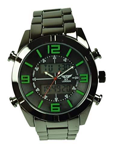 4ba9de948c71 NY London de los Hombres Reloj de Pulsera Fecha Hora Cronógrafo Alarma Luz  de Noche