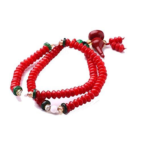 Caldo Rosso Fortunato Fascino Ciondola Piatto Rotondo Tallone Perline Preghiera Unisex Bracciali