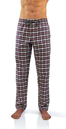 Sesto Senso Herren Schlafanzughose Lang Kariert Pyjamahose 100% Baumwolle 1er - 2er Pack Pyjama Nachtwäsche (L, 1)