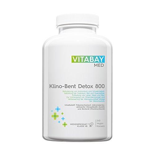 Klino-Bent DETOX 800 ultrafein 240 vegane Kapseln - Tribomechanisch mikronisierter aktivierter Klinoptilolith Zeolith/Bentonit (Montmorillonit) - zur Entgiftung und Schwermetall-Ausleitung
