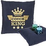 Bada Bing Kissen Couch King Mit Integrierten Getränkehalter Männer Kissen Leinenoptik 45 x 45 cm Dunkelblau Gold Sofakissen Zierkissen Deko 07