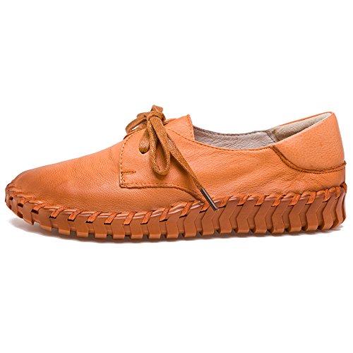 Shenn Damen Arbeit Platz Komfort Beiläufig Oben Qualität Leder Mode Sneaker Bräunen
