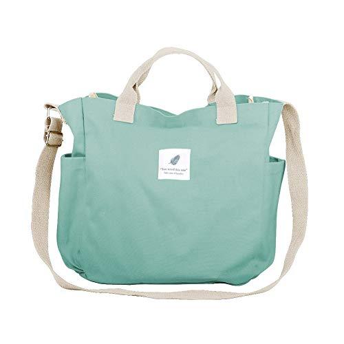 Nlyefa Canvas Damen Große Umhängetasche Einkaufstasche Henkeltasche Canvas Handtasche Shopper Tasche für Mädchen Schule Einkäufe (Mintgrün)