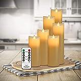 Air Zuker 6er LED Flammenlose Kerzen batteriebetriebene Kerzen Säule Echtwachskerzen mit Timer und 10 Tasten Fernbedienung, für Dekorations zB. Party, Hochzeit, Tisch - 6