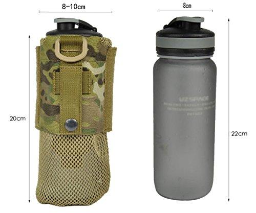 ueasy faltbar Wasser Flasche Tasche Tactical MOLLE Flaschen Tasche Kordelzug 1000D Tactical Hydration Carrier schwarz - schwarz