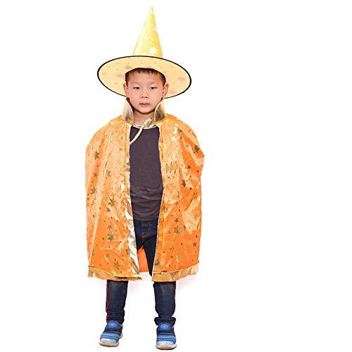 Halloween Kostüm für Kinder Mädchen,Unisex Halloween Satin Karneval Fasching Kostüm Cape mit Hut Gr.90 von Innerternet