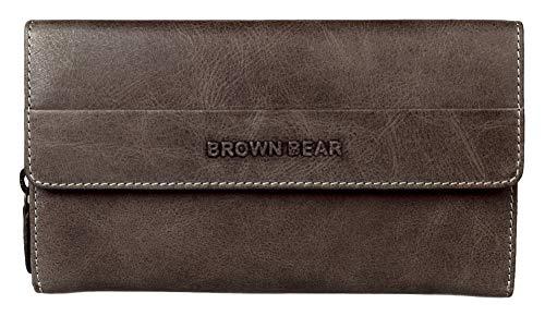 Brown Bear hochwertige RFID Schutz Geldbörse Damen Leder Grau-Braun Vintage groß viele Fächer