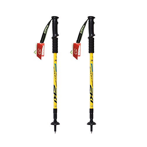 Pair of Trekking Antishock Hiking Sticks Telescopic Walking Poles for Women Men Camping Hiking Aluminum - Yellow