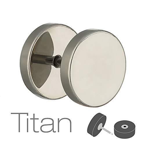Treuheld® | Fake Plug Ohrstecker aus Titan - 1,2mm x 8mm - Silber | Fake Tunnel - Ohrring zum Schrauben für Damen und Herren