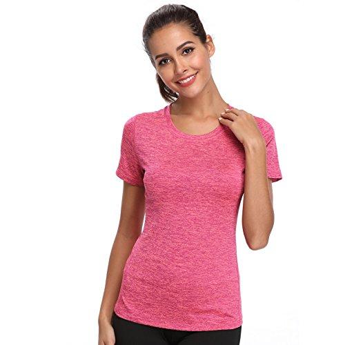 Joyshaper Training Top Damen Yoga Fitness Top T Shirt Quick Dry Kompression Sport Tanktop Sportshirt Trainingsshirt Shirt T-Shirt Running (Pink, XX-Large) - Training Top T-shirt