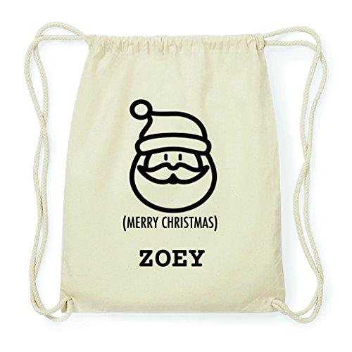 JOllify Turnbeutel Geschenk für ZOEY Weihnachten Rucksack aus Baumwolle - natur: Santa Claus Weihnachtsmann (Santa Zoey)