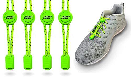 Rush Lace - Elastische Schnürsenkel mit Schnellverschluss aus Gummi - für Erwachsene, Kinder, Senioren geeignet, Sport, Triathlon, ohne Schuhe binden! (Neon-grün, 2 Paar)
