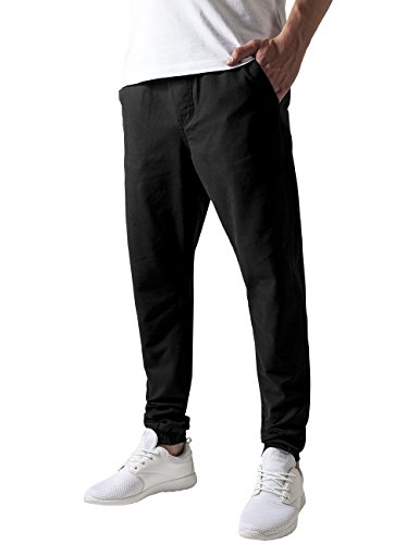 Urban Classics TB1434 Herren Hose Washed Canvas Jogging Pants Schwarz (Black 7)
