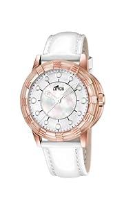 Reloj analógico Lotus 15860/1 de cuarzo para mujer, correa de cuero color blanco (agujas luminiscentes)