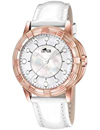 Lotus 15860/1 - Reloj analógico de cuarzo para mujer, correa de cuero color blanco (agujas luminiscentes)