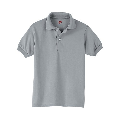 Hanes Kids' Cotton-Blend EcoSmart® Jersey Polo Grey XL (Hanes Toddler-shirts)