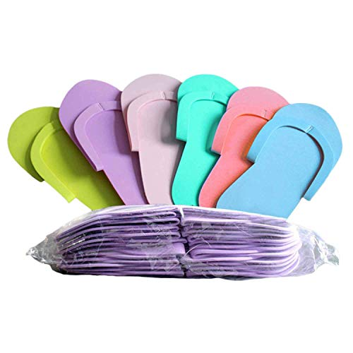 Bobopai 24 Pairs Disposable Eva Foam Slipper Flip Flops Pedicure Tanning Spa Salon Tool Supplies Random Colors -