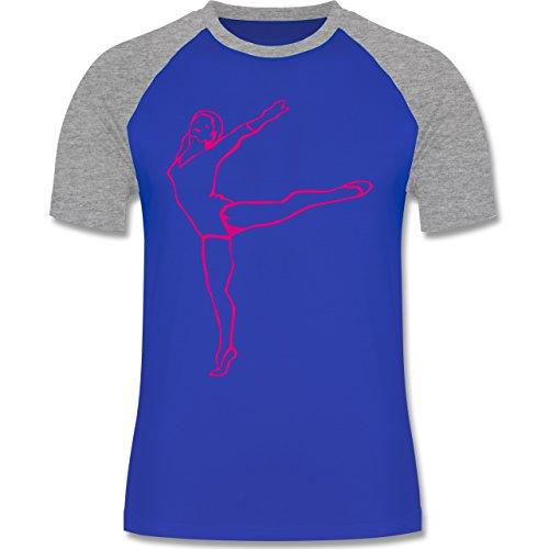 Wellness, Yoga & Co. - Rhythmische Sportgymnastik - zweifarbiges Baseballshirt für Männer Royalblau/Grau meliert