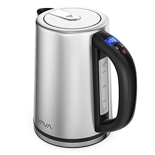 Wasserkocher Edelstahl VAVA mit Temperatureinstellung 1.7 L BPA-frei Elektrische Wasserkessel Teekanne mit Echtzeit-Temperaturanzeige, Automatische Abschaltung Trockengehschutz, 2200W