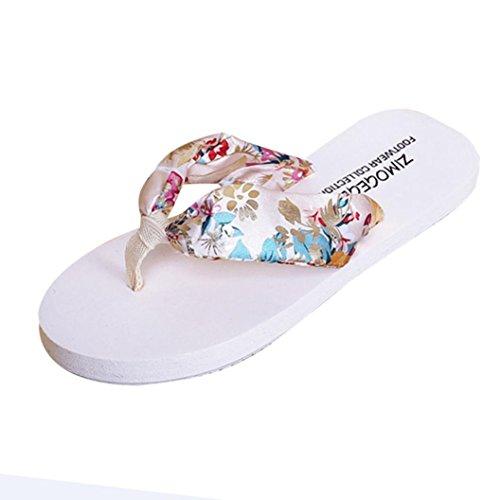 Vovotrade Femmes Sandales dété Glissière Flip-flops Intérieur Chaussures de Plage Style Floral Rétro Beige