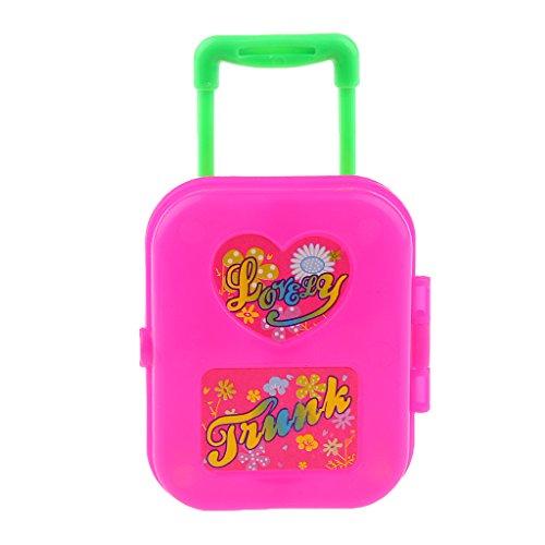 MagiDeal Niedlichen Reise Koffer Gepäckbox Für Barbie Puppe - Rot (Reise-puppe Möbel)