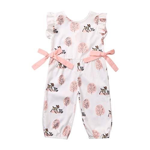 Newborn Infant Girl Boy Bow Cartoon Deer Romper Jumpsuit Outfits ()
