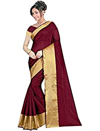 The Shopoholic Dark Red Cotton Silk Saree For Women