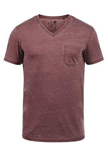 !Solid Theon Herren T-Shirt Kurzarm Shirt Mit V-Ausschnitt, Größe:L, Farbe:Wine Red (0985)