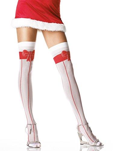 verknee Strümpfe mit Schleifenprint - One Size - Weiß/Rot - 1504 (Leg Avenue Weihnachts Kostüme)
