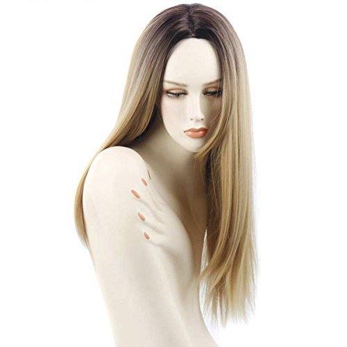 Perruque Blonde Femme Ombre - 26 Inch Vrai Cheveux Naturel Postiche Cheveux Chignon Blond Perruque Synthétique Bresilienne Postiche Longue avec Wig Cap