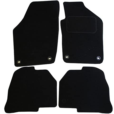 JVL Fully Tailored Car Mat Set with 4 Clips - 4 Pieces, Black