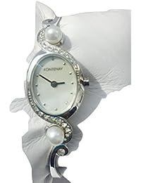 Quartz analogique bracelet de Fontenay Femmes regarder avec des pierres et 2 Perles véritables.