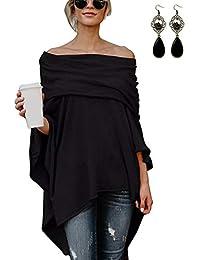 XXIE Poncho Damen Lange Off Shoulder mit Ärmel Tunika Pullover Sweatshirt Cape