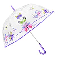 Transparent Butterfly Umbrella for Girls Women - Clear Dome Bubble Stick Umbrella with Purple Details - Automatic Windproof Resistant Brolly in Fiberglass - PFC Free - Diameter 89 cm - Perletti Time