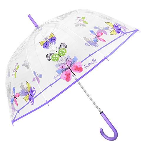 Transparent Regenschirm Schmetterlinge Damen - Durchsichtiger Butterfly Kuppel Regenschirm - Sturmsicher Windproof Automatik Schirm mit Lila Griff - PEG Material - Durchmesser 89 cm - Perletti