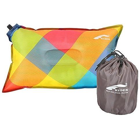 Ultimate almohada de acampada (autoinflable, travelpillow, almohada de aire inflable y almohada almohada de Festival, garantía de por vida, multicolor
