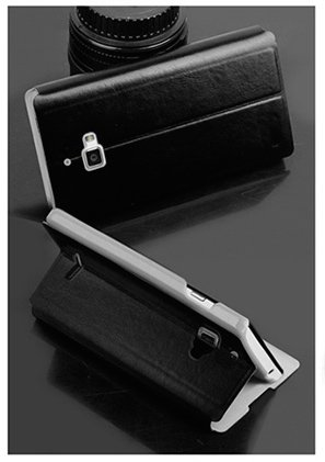 For Micromax Canvas Nitro A310 / A311 Accessories Premium LEATHER Flip Cover Case with Stand by MOFI - Black