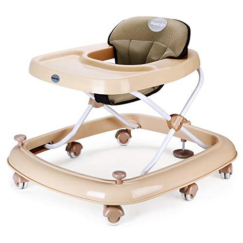 *Fascol Lauflernhilfe Höhenverstellbar Gehfrei Klappbar Lauflernwagen mit Bremse Laufstuhl Babystuhl, Khaki*
