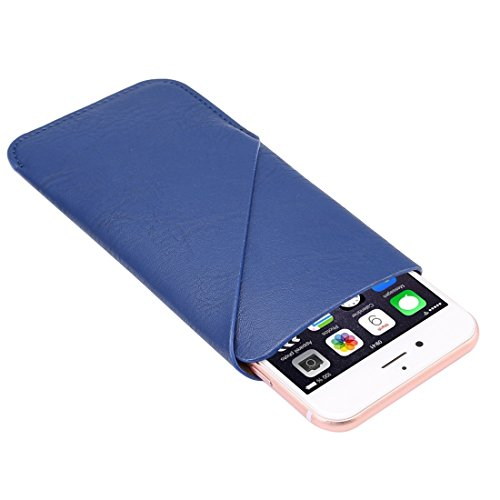 Wkae Case Cover 5,7-Zoll-Universal-Elefant-Haut-Beschaffenheit Vertikal-Art-Beutel-Kasten-Beutel mit Kartensteckplatz für iPhone 6 Plus & 6s Plus Samsung Galaxy Note 04.05 / S7 Rand, Huawei, usw. ( Co Blue